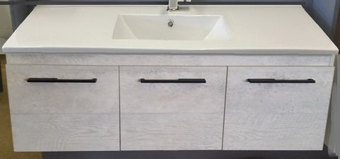1200 Concrete Wall Hung Vanity, Slimline Ceramic Top, Pop-up waste