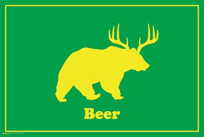 Deer + Bear = Beer (24x36) - HMR50043