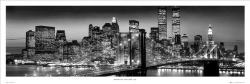 New York Night Skyline (B&W) (21x60) - BAW90007