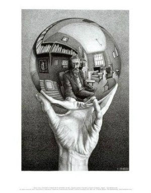 "M. C. Escher - ""Hands with Sphere"" (11x14) - BAW00053"