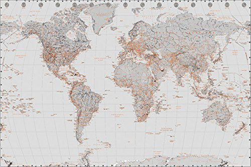 NAT90022 - World Map- Silver With Orange (24x 36)