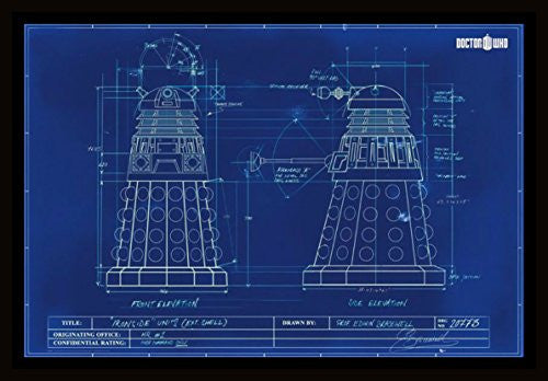 Doctor Who - Dalek Blue Print Framed