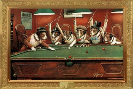 Coolidge Dogs Playing Pool (24x36) - HMR00024