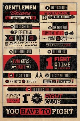 FLM89754 Vintage Fight Club Rules 26x36