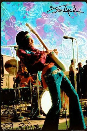 Jimi Hendrix - Guitar Live, Psychedelic (24x36)