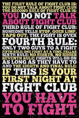 "FLM91085 - Fight Club 8 Rules (24"" x 36"")"