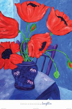 Poppies in Blue Room (24x36) - FAR36433