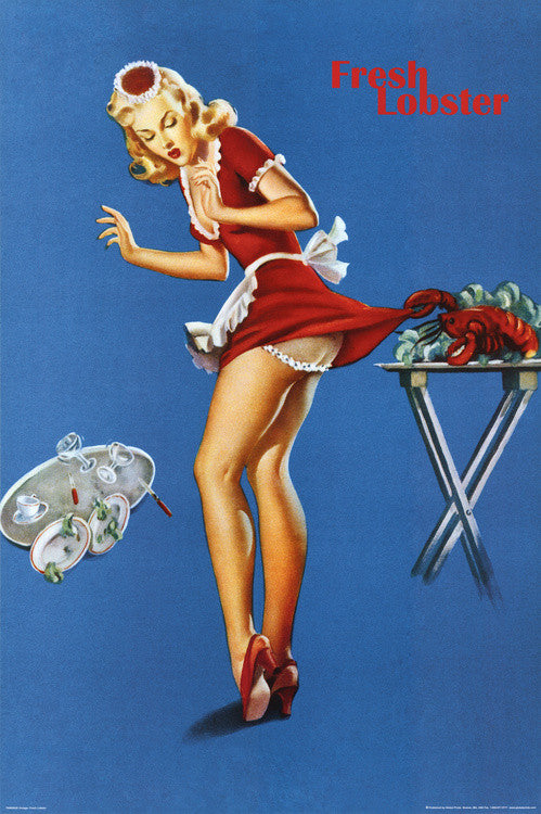Fresh Lobster Blonde Waitress (Retro) (24x36) - FAR00020