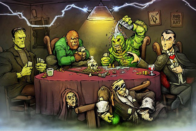 Monsters Playing Poker (24x36) - HMR01010