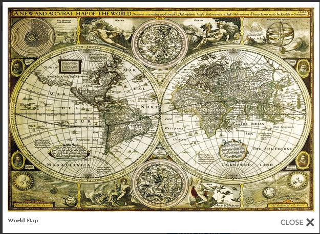 World Map (Vintage) (24x36) - NAT35690