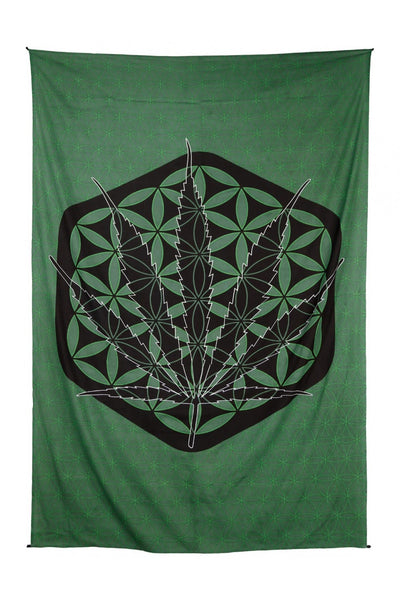 Zest For Life Sacred Pot Leaf Tapestry