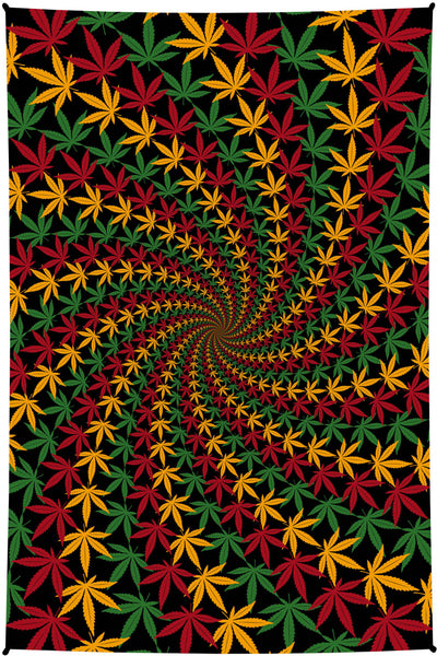 3D Rasta Leaf Spiral Mini Tapestry