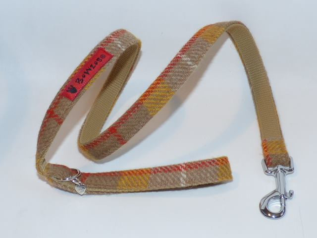 (Urquhart) Harris Tweed Dog Lead - Mustard & Beige Check - BOWZOS