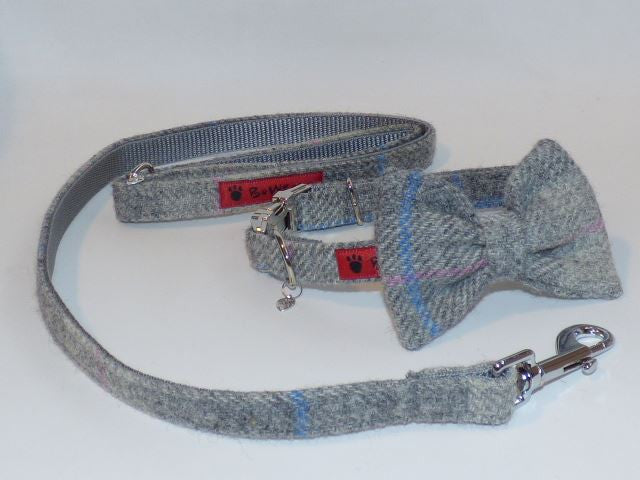 (Kyle) Harris Tweed Bow Tie Dog Collar & Lead Set - Baby Grey Check - BOWZOS