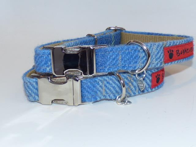 (Edinburgh) Harris Tweed Dog Collar  - Baby Blue Check - BOWZOS