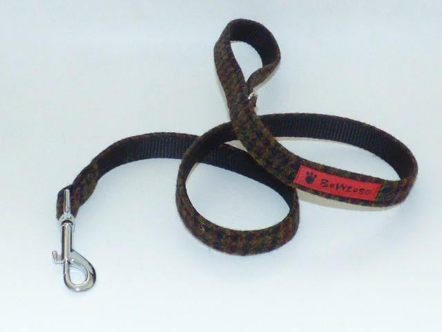 (Bobby) Harris Tweed Dog Lead - Dark Brown Houndstooth - BOWZOS