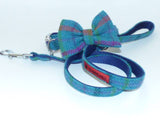 (Tiree) Harris Tweed Bow Tie Dog Collar & Lead Set - Turquoise Check - BOWZOS