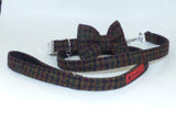 Harris Tweed Bow Tie Dog Collar & Lead Set - Bobby Dark Brown Houndstooth - BOWZOS