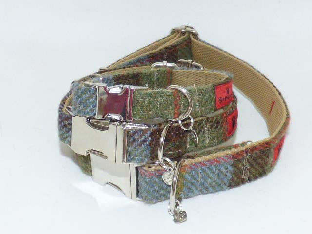 Harris Tweed Dog Collar - MacLeod Tartan - BOWZOS