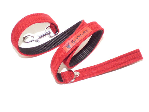 (Cranberry) Harris Tweed Dog Lead - BOWZOS
