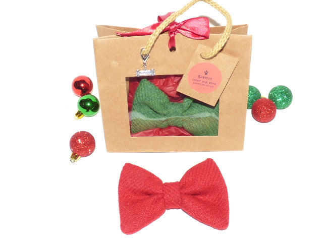Harris Tweed Bowzos Bow in a Bag for Christmas - Any Colour - BOWZOS