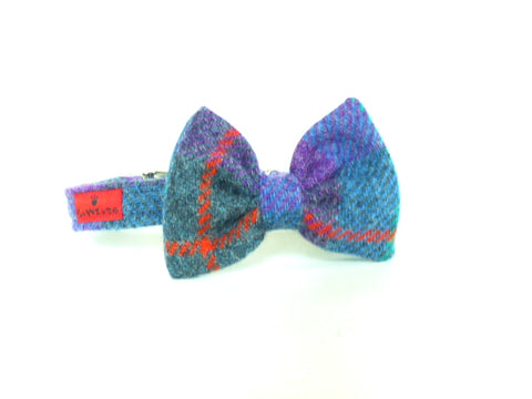 (Barra) Harris Tweed Bow Tie Dog Collar - Berry Blue Check - BOWZOS