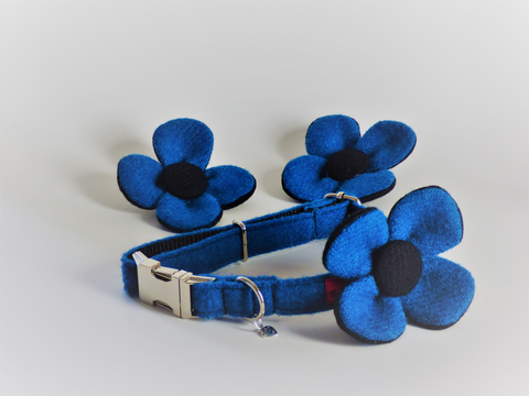 (Bonnie) Harris Tweed Flower Dog Collar - Blue - BOWZOS