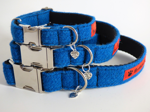 (Bonnie) Harris Tweed Dog Collar  - Blue - BOWZOS