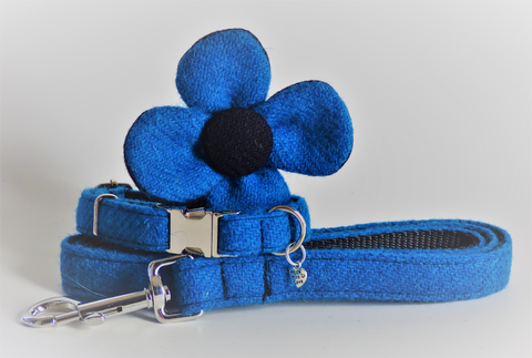 (Bonnie) Harris Tweed Flower Dog Collar & Lead Set - Blue - BOWZOS