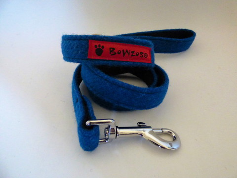 (Bonnie) Harris Tweed Dog Lead - Blue - BOWZOS
