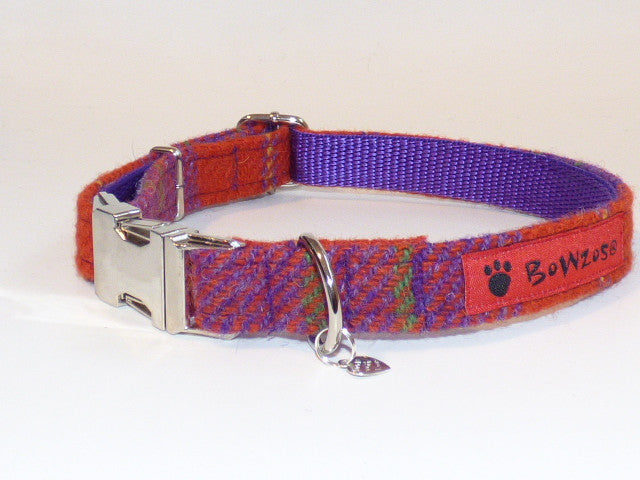 (Dunoon) Harris Tweed Dog Collar - Red/Purple Check - BOWZOS