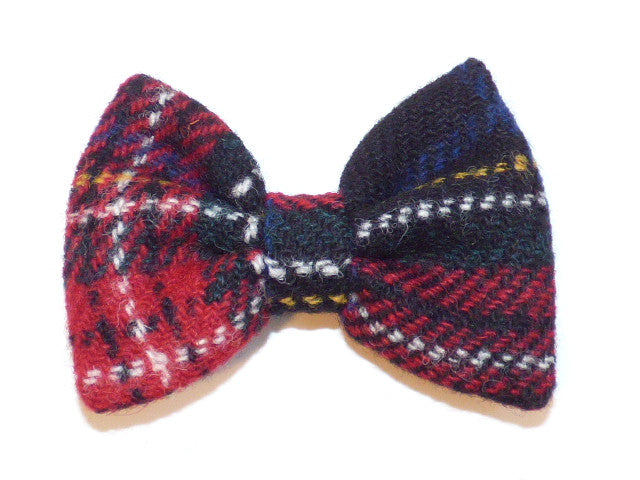Bowzos Bow - Harris Tweed Black Stewart Tartan - BOWZOS