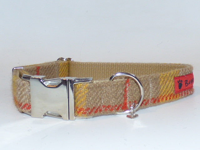 (Urquhart) Harris Tweed Dog Collar - Mustard & Beige Check - BOWZOS
