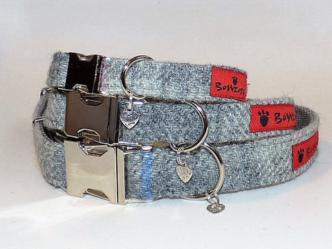 (Kyle) Harris Tweed Dog Collar  - Baby Grey Check - BOWZOS