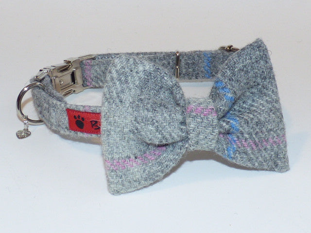 (Kyle) Harris Tweed Bow Tie Dog Collar - Baby Grey Check - BOWZOS