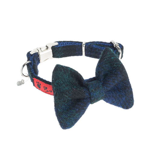(Black Watch) Harris Tweed Bow Tie Dog Collar - Black Watch Tartan - BOWZOS
