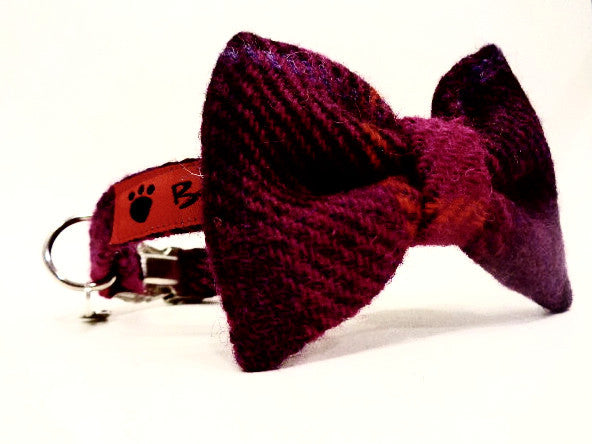 (Mull) Harris Tweed Bow Tie Dog Collar - Fuschia Purple - BOWZOS