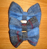 (Skye) Bowzos Bow - Harris Tweed Blue/Grey Check - BOWZOS