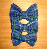Bowzos Bow - Harris Tweed Blue & White Check - BOWZOS