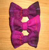 (Mull) Bowzos Bow - Harris Tweed Fuschia Check - BOWZOS