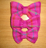 (Iona) Bowzos Bow - Harris Tweed Cerise Pink Check - BOWZOS