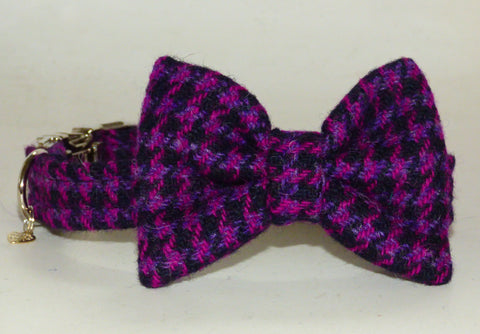 (Hetty) Houndstooth Harris Tweed Bow Tie Dog Collar - BOWZOS