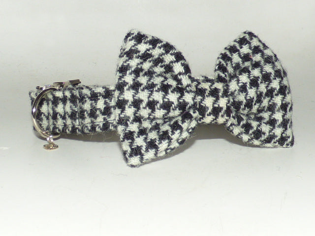 (Nessie) Houndstooth Harris Tweed Bow Tie Dog Collar - BOWZOS