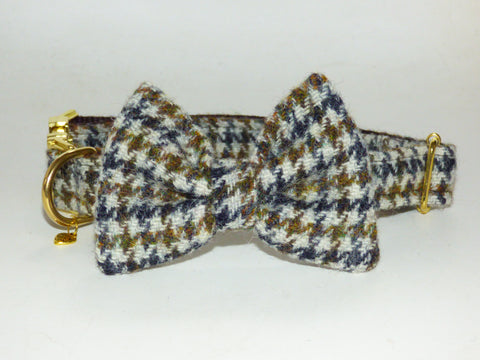 (Harris) Houndstooth Harris Tweed Bow Tie Dog Collar - BOWZOS