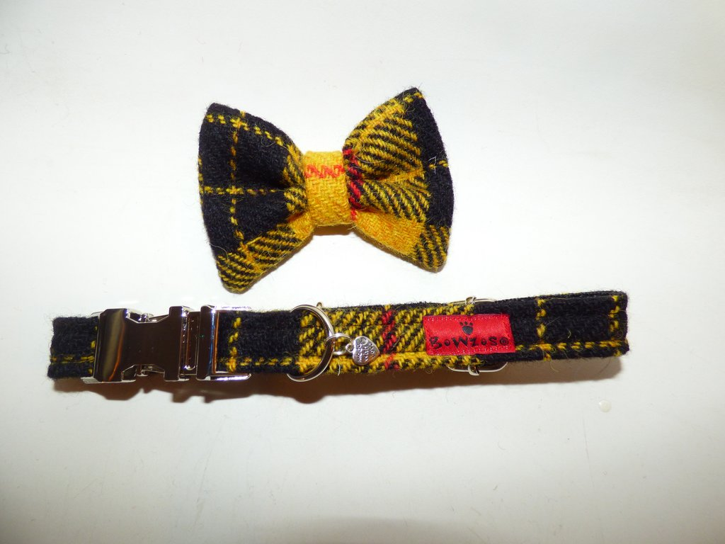 Harris Tweed Bow Tie Dog Collar & Lead Set - MacLeod Modern Dress Tartan - BOWZOS