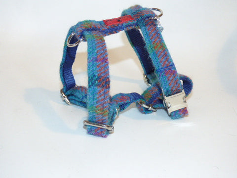 (Tiree) Harris Tweed Harness - Turquoise Check - BOWZOS