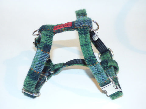 Harris Tweed Harness - Grass Green Check - BOWZOS