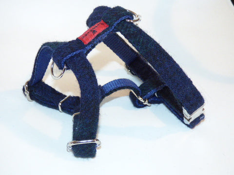(Black Watch) Harris Tweed Harness - Black Watch Tartan - BOWZOS