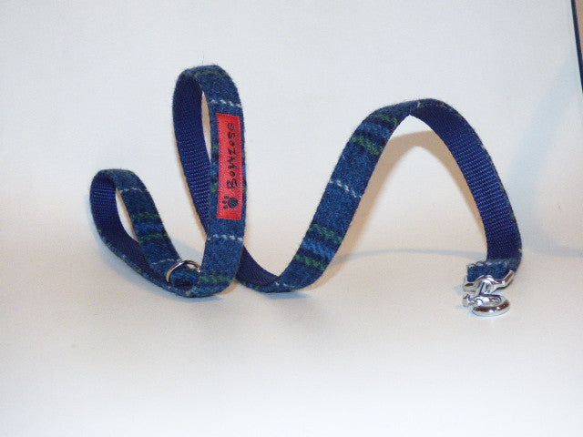 (St Andrews) Harris Tweed Dog Lead - Blue & White Check - BOWZOS