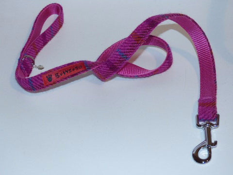 (Iona) Harris Tweed Dog Lead - Cerise Pink Check - BOWZOS